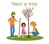 Family Planting Tree Outdoors. Man, Woman, Girl Planting Trees. Child Planting Trees. Flat Vector Il poster