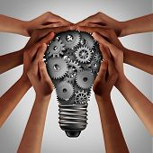 Business Diversity Solution And People Working Idea As Ethnic Diverse Hands Pushing Gears And Cog Wh poster