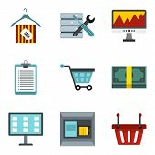 Payment For Labor Icons Set. Cartoon Set Of 9 Payment For Labor Icons For Web Isolated On White Back poster