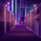 Side Street In Night Metropolis Cartoon Vector With Illuminated Skyscrapers Buildings, Self-storage  poster