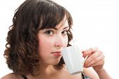 stock photo of underthings  - Portrait of young beauty woman drinking coffee - JPG