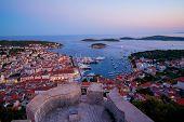 Panoramic View Of Hvar Town In Croatia. poster