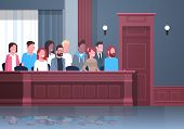 Jury Sitting In Box Court Trial Session Mix Race People In Judging Process Modern Courtroom Interior poster