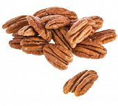stock photo of pecan  - Peeled pecan nuts close up - JPG