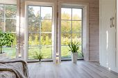 Bright Interior, Room In Wooden House With Large Window. Scandinavian Style. poster