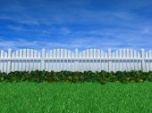 Fence On A Grass Field Under Blue Sky