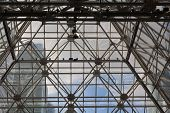 Glass Roof In The Business Center. Metal And Glass Construction - Architecture And Design In A Shopp poster