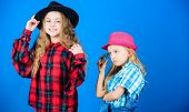 Following Sister In Everything. Cool Cutie Fashionable Outfit. Happy Childhood. Kids Fashion Concept poster