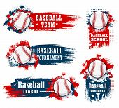 Baseball Sport Banners With Halftone Blue And Red Background. Vector Baseball Sport Championship Cup poster