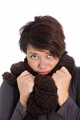 Unhappy Woman Suffering From Cold Weather