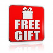 picture of free-trade  - 3d red banner with white text free gift and present box symbol - JPG