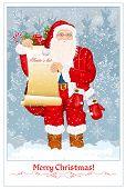 Papai Noel com lista do Papai Noel e o saco grande, com apresenta-se no fundo de neve. ilustração vetorial