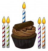 Illustration of an isolated cupcake and candles on a white background