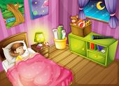 illustration of a girl and a beautiful bedroom