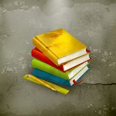 Stack of textbooks, old-style vector