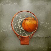 Basketball icon, old-style vector