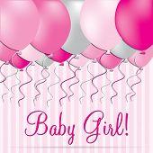 pic of niece  - Baby Girl balloon card in vector format - JPG