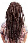 foto of dreadlocks  - Young girl with dreadlocks in a checkered shirt - JPG