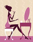 Woman Sitting At Dressing Table Silhouette