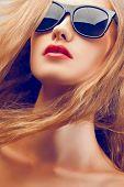 beautiful woman portrait wearing sunglasses