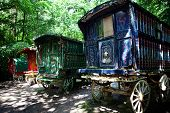stock photo of caravan  - traditional gypsy caravan or cart - JPG