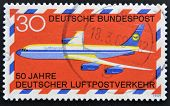 GERMANY - CIRCA 1969: A stamp printed in the Federal Republic of Germany shows 50 years German airma