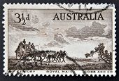 AUSTRALIA - CIRCA 1955: A stamp printed in Australia dedicated to Pioneers of Australia's coaching e