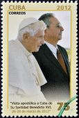CUBA - CIRCA 2012: A stamp printed in cuba shows Raul Castro and Pope Benedict XVI circa 2012