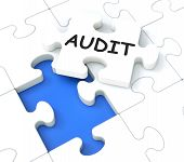 stock photo of financial audit  - Blue Audit Shows Auditing Reports And Reviews - JPG