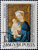 HUNGARY - CIRCA 1984: A stamp printed in Hungary shows Madonna and child Trensceny circa 1984.