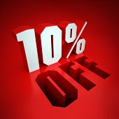 10% off, percent in white letters on a red background