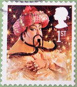 UNITED KINGDOM - CIRCA 2008: A christmas stamp printed in Great Britain shows The Genie from Aladdin