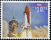 UNITED STATES OF AMERICA - CIRCA 1995: A stamp printed in USA shows launch of Space Shuttle Endeavou