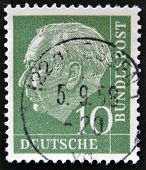 GERMANY - CIRCA 1955: A stamp printed in Germany shows Theodor Heuss circa 1955