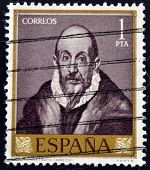 SPAIN - CIRCA 1961: A stamp printed in Spain shows a self portrait of El Greco circa 1961
