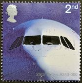 UK - CIRCA 2002: A stamp printed in Great Britain dedicated to 50th Anniversary of Passenger Jet Avi