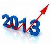 2013 Angular seta vermelha mostra as vendas para o ano