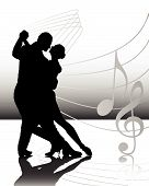 foto of ballroom dancing  - vector illustration of a sweet couple dancing - JPG