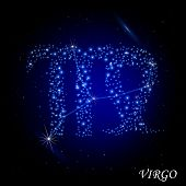 Sign of the zodiac - Virgo. Composed of stars.