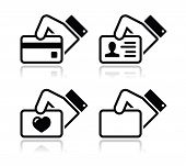 stock photo of payment methods  - Modern black icons set with reflection  - JPG