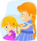 Illustration of a Big Sister Tying Her Younger Sister's Hair in Braids