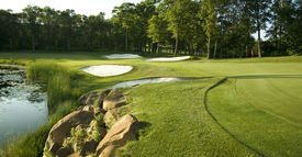 image of sand lilies  - Golf green with traps bordered by rocks water and trees - JPG