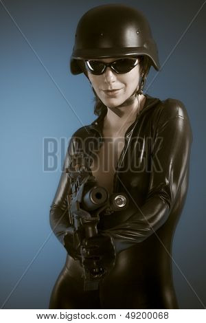 Airsoft Police woman holding a