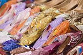 Dubai UAE Colorful women\x90s sandals made of camel skins are for sale in the Bur Dubai souq.