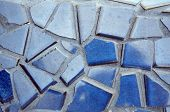 Blue Broken Tile Set In Grout