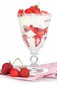 Natural yogurt with fresh strawberries isolated on white
