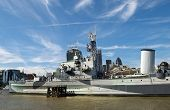 The Hms Belfast On The River Thames