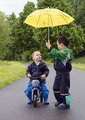 Children With Umbrella