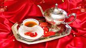 Tea Service With Red Background