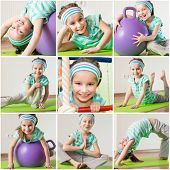 happy little girl engaged in fitness at home